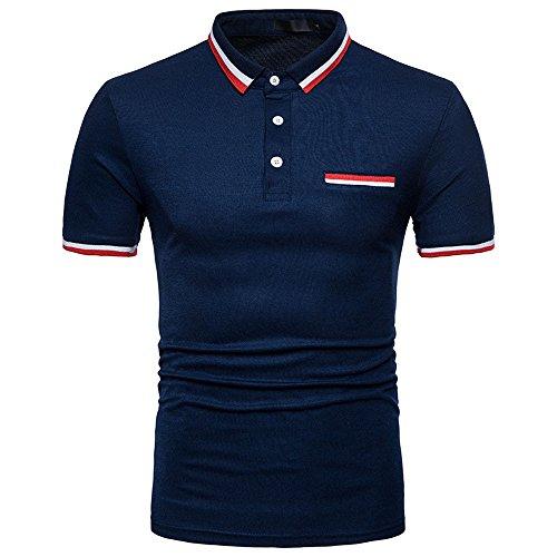 Crazboy Mode Persönlichkeit Herren Sommer beiläufige dünne Kurzarm T-Shirt Top Bluse(Medium,Marine) -