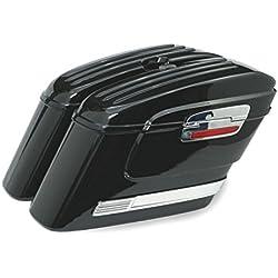 Alforjas rigidas para moto custom de 43 litros de capacidad. Color en negro brillo. Viene con todo lo necesario para su instalación.