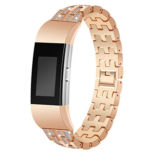 Uhrenarmband,Chshe Ersatz Für Edelstahl-Metallarmband, Damen Damen Bling Für Fitbit Load 2 (Gold)