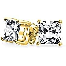 Bling Jewelry Hombre Vermeil Corte Princesa Oro CZ Plata Esterlina stud Arete 7mm