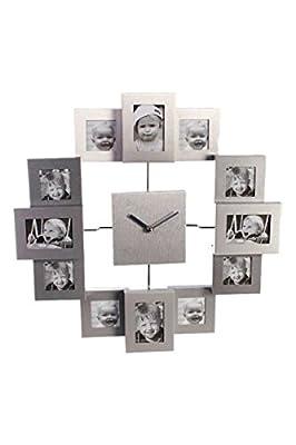 Orologio da parete in alluminio con 12 portafoto; misure 2 da 5 x 7, 2 da 7x5 e le altre 5 x 5. by Tristar