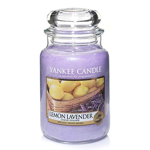 Yankee Candle große Duftkerze im Glas, Lemon Lavender, Brenndauer bis zu 150 Stunden