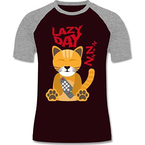 Comic Shirts - Lazy Day - zweifarbiges Baseballshirt für Männer Burgundrot/Grau meliert