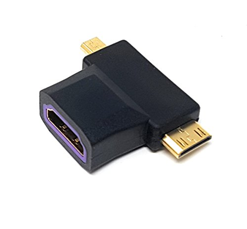MainCore Lange 2 in1 HDMI zu Micro HDMI- und Mini-HDMI PLUG multi Adapter Kabel Kompatibel mit Digitalkamera, Tablet, Handy, Dash Cam, Camcorder, Video Recorder, GoPro, Sony, Canon, Nikon, Samsung, Panasonic, Vivitar, Kodak, Fujifilm, Polaroid... etc. Adapter Schwarz