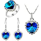 Liroyal Charm Ocean Titanic Heart Pendants Necklace Fashion Crystal Jewelry Set for Women