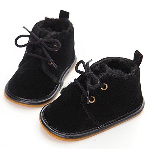 Bottes de bébé fille,Chaussures d'hiver bébé garçon Noir