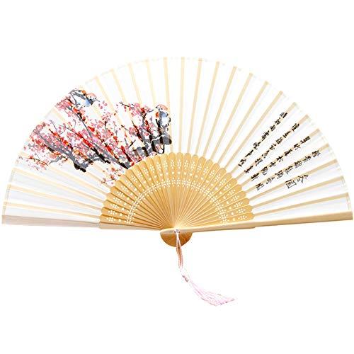AIUIN Seide Alter Stil Damen Handfächer Chinesischer Blumen Stoff Fächer Ideal als Hochzeit Geschenk Party Kostüm (Winter) (Party Winter Kostüm)