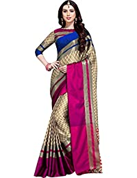 Queen Of India Women's Cotton Silk Saree With Blouse Piece