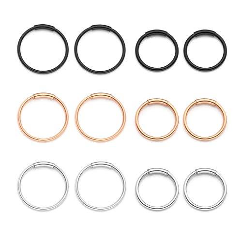 Zysta set di 6 paia orecchini a cerchio anelli per donna in acciaio inox 20ga 8/10mm piercing per corpo naso labbro trago sopracciglio colore nero argento oro oro-rosa -#1