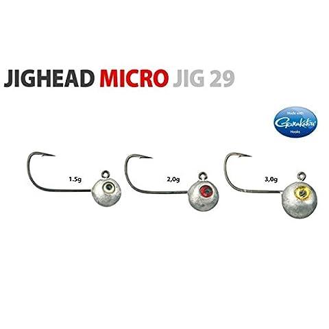 Spro Micro Jighead Jig 29 - 5 Jighaken zum Finesse Angeln auf Barsch & Forelle, Jigkopf, Bleikopf, Angelhaken, Größe:3g / Gr. 2