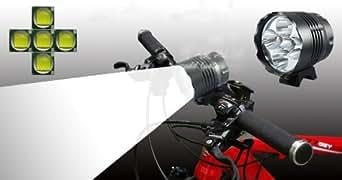 ZeleSouris 6000lm T6 5 lampe de poche LED Torch lumière de bicyclette phare avant kits d'ampoule de lampe de lumière de vélo éblouissement : T6 lampe de poche, chargeur , anneau en caoutchouc
