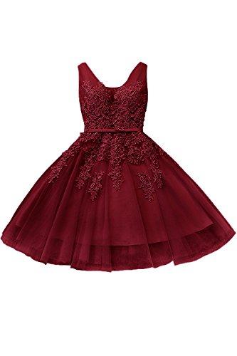 Damen V-Ausschnitt dunkelrotes Kleid bordeaux kurz Spitzenkleid mit Blumenstickerei rückenfrei knielang Weinrot 36