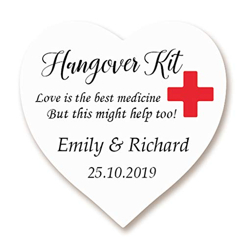 T 38MM Kater Kit Sticker, Rotes Kreuz Hangover Kit Sticker - 'Love is the best medicine' Etiketten zum die Hochzeit,Gastgeschenk,Hen Night,Geburtstag,Bachelorette Party - Ht 042 ()