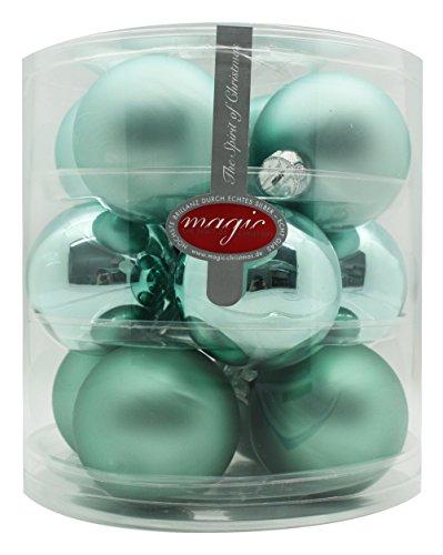 Christbaumkugeln Glas 75mm//Weihnachtskugeln Weihnachtsschmuck Weihnachtsdeko Baumkugeln Baumschmuck Christbaumschmuck Kugeln Glaskugeln Dose, Farbe: Winter Jade (Mint Mintgrün Aqua Glanz/Matt)