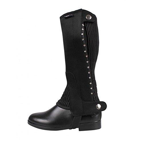 QHP Chaps Minichaps Bling Bling mit Strassdetails schwarz elastisch Reißverschluss (6 Jahre)