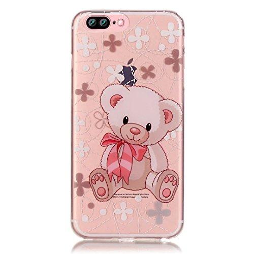 Vandot iPhone 7 Plus Strass Diamant Case iPhone 7 Plus Transparent TPU Silicone Coque pour iPhone 7 Plus 5.5 Pouces Souple Coque+ Support de téléphone portable-Papillon Fille Motif-4