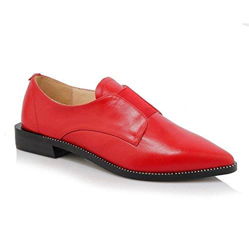Femmes Pointu Doigt de pied Rivet Cuir Chaussures Décontractée Appartements Talon Unique rouge Noir Travail Red