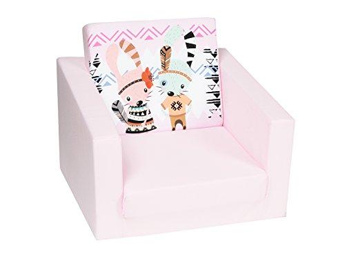 DELSIT Kindersessel zum Ausklappen Ausklappbare Kinder Sessel Baby Sessel Spielzimmer Kindermöbel für Mädchen HASEN Rosa