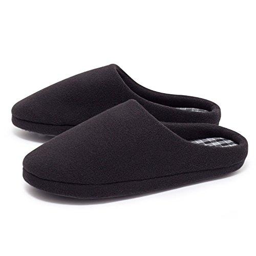 ZEARO Herren Fleece Hausschuhe Pantoffeln Slipper Gäste Puschen Latschen Schuhe 41-46 Schwarz