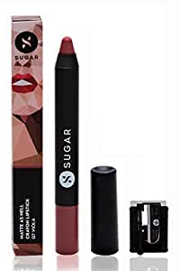 SUGAR Cosmetics Matte As Hell Crayon Lipstick 07 Viola (Mauve Nude) With Free Sharpner, 2.8 g