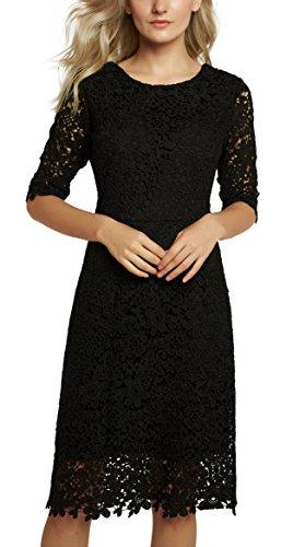 Urban GoCo Damen Elegantes Spitzen Kleid Etuikleid Abendkleid (XL, Schwarz)