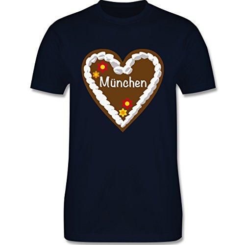 Oktoberfest Herren - Lebkuchenherz München - Herren Premium T-Shirt Navy Blau