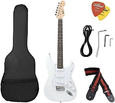 ammoon ST Guitarra Eléctrica Cuerpo Basswood Diapasón de Rosewood con Estuche Correa