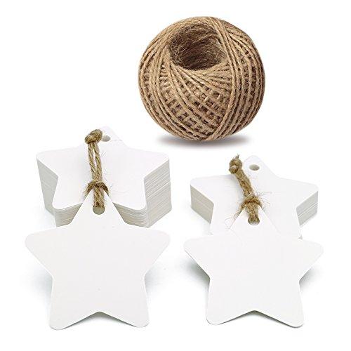 Foto de 100etiquetas de papel kraft para regalo con forma de estrella con 30,5 metros de cuerda de yute natural, idea para regalos de boda, de cumpleaños, etiquetas de precios y de equipaje