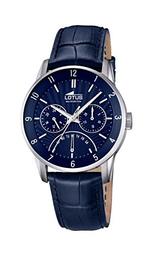 Lotus Men's Quartz Watch with Blue Dial Analogue Display and Blue Leather Strap 18216/2