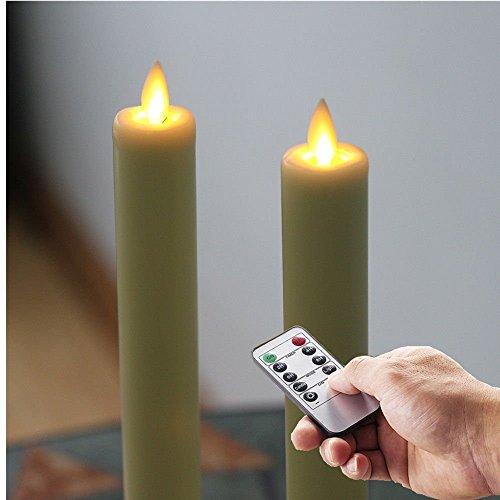 Flammenlose 27,9cm Fenster Elfenbeinfarben beweglichen Docht LED-Spitzkerzen mit flackerndem Docht–batteriebetrieben, Set von 2