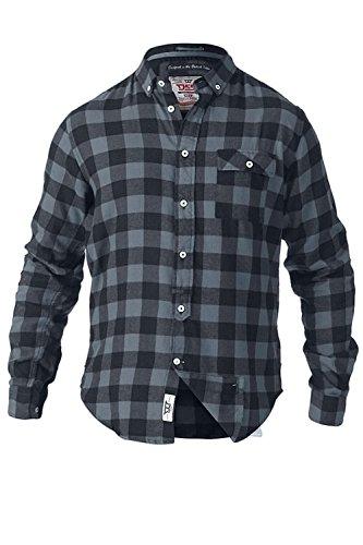 D555 Duke Herren Groß Hoch King-Size Agelo Watson oder Lawton Kariertes Hemd Gebürstete Baumwolle Lumberjack Top Watson - grau blau kariert
