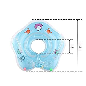 Linghuang Baby Swimming Ring Tube Safety Infant Float Circle for Newborn Baby from 0 Months to 18 Months,Made of Skin-Friendly PVC (Blue, S)