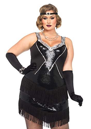 Leg Avenue 85474X - Glamour Flapper Damenkostüm Set, Größe 3X-4X EUR 48-50, (Sexy Schwarzes Flapper Kostüm Für Erwachsene)