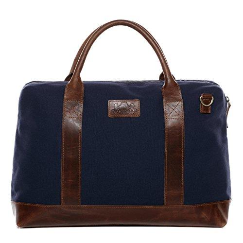 """SID & VAIN® Laptoptasche MARLON - Unisex Notebooktasche groß Ledertasche fit für 15.4 """" Zoll 15 Laptop mit herausnehmbarer Schutzhülle - Businesstasche Damen und Herren echt Leder blau-braun"""