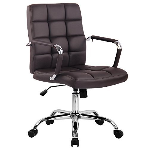 Poly and Bark Manchester Office Chair in Vegan Leather, Coffee