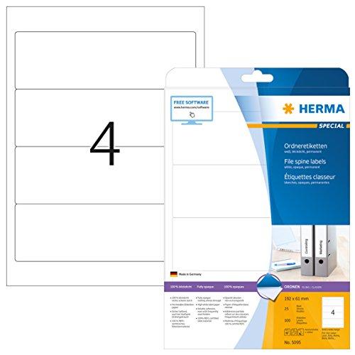 Herma 5095 Ordnerrücken Etiketten blickdicht, breit/kurz (192 x 61 mm) 100 Ordneretiketten, 25 Blatt DIN A4 Papier matt, weiß, bedruckbar, selbstklebend (Schwarz Etiketten Bedruckbare)