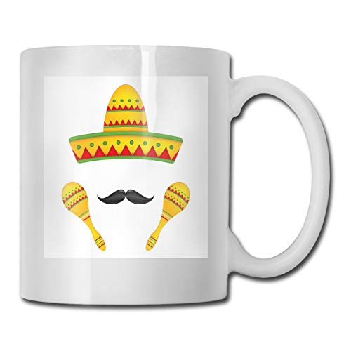 Jolly2T Funny Ceramic Novelty Coffee Mug 11oz,Famous Centerpiece Icons Sombrero Moustache Rumba Shaker Mesoamerican Image,Unisex Who Tea Mugs Coffee Cups,Suitable for Office and Home -