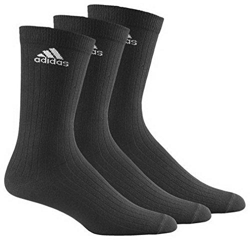 Adidas - Calzini sportivi da adulto, modello Crew Rib T 3PP - Nero/nero/bianco