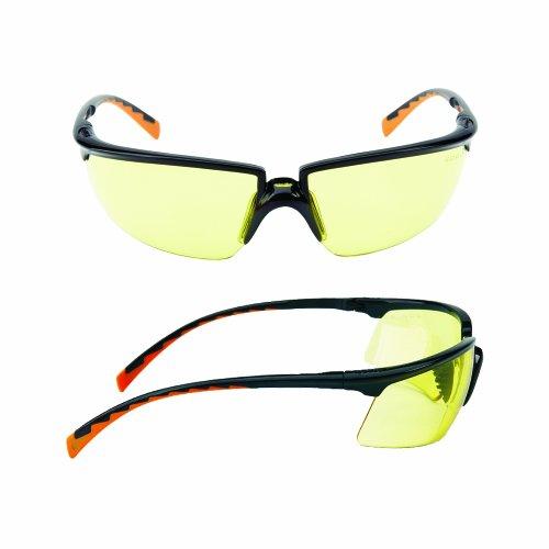 3M SOLUS Sicherheit Brille Rahmen mit Bernstein DX Objektiv (1Paar)-Schwarz/Orange -