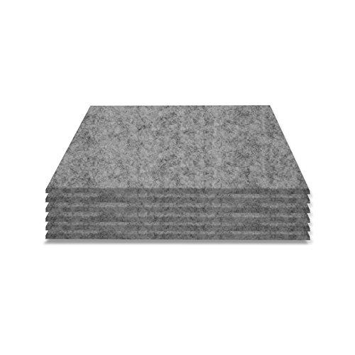 """SIMON PIKE Filzuntersetzer Set """"Hugo"""" 6 Stück, 2mm dick, Farbe: grau, ohne Logo, Glasuntersetzer aus echtem Natur Wollfilz (11 Farben wählbar), 6er Pack quadratische Getränke Untersetzer für z.B. Glastische oder auf Tischen, Bars und allen anderen lackierten Oberflächen"""
