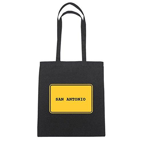 JOllify San Antonio di cotone felpato b4438 schwarz: New York, London, Paris, Tokyo schwarz: Ortsschild