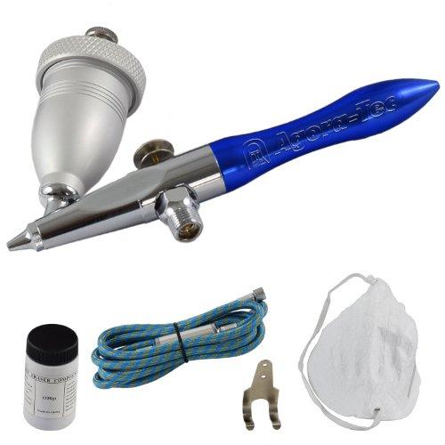 Agora-Tec Airbrush Pistole Eraser Gun AT-AEG-01 - Sandstrahl - Airbrush-Pistolen-Set inkl. Schlauch, 150g Sandstrahlgut, Staubmaske und Wandhalterung