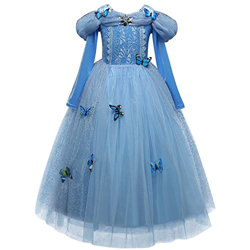 RBHSG 4 7 8 9 10 Years ELSA Dress Children Role-Play Costume Princess Cinderella Girls Ball Gown Party Christmas Cosplay Vestido Blue Blue - Blue Star Princess Kostüm