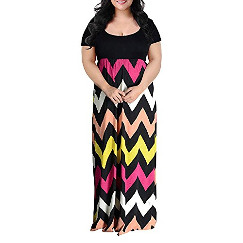 Elegante Kleider Damen Kleid Cocktailkleider Ronamick Frauen Chevron Print Sommer Kurzarm Plus Größe lässig Lange Maxi Kleid(4XL, Multicolor) - Pailletten Multi Color Print-rock