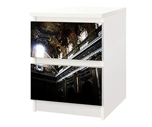 Set Möbelaufkleber für Ikea Kommode MALM 2 Fächer/Schubladen Barock Kirche Dom Bauwerk Kat21 Italien Aufkleber Möbelfolie sticker (Ohne Möbel) Folie 25F054
