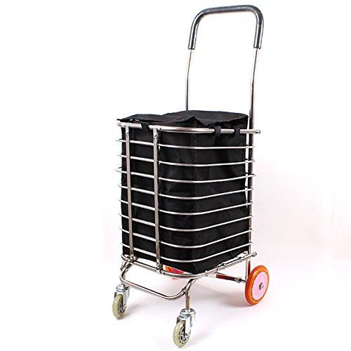 RFJJAL Roue Pliable légère de poulie 4 d'acier Inoxydable de Chariot de remorque de Chariot à achats