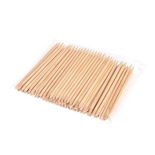 Anself 100pcs Nail Art Design orange bâton de bois Cuticule Remover Pusher manucure professionnel des soins de manucure Outils Accessoires