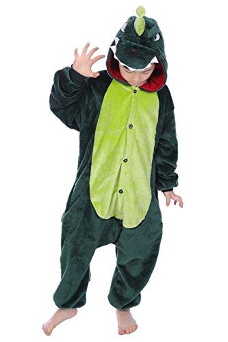 Tuopuda Kinder Kigurumi Pyjamas Tier Schlafanzug Jumpsuit Nachtwäsche Unisex Cosplay Kostüm für Mädchen und Jungen Halloween Karneval Fasching (XXL = 130 - 140 cm height, Grüner Dinosaurier)