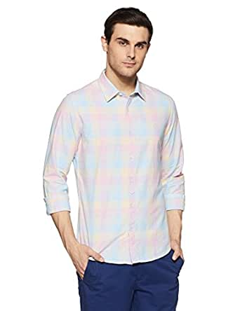 United Colors of Benetton Men's Checkered Slim Fit Casual Shirt (18P5MR32U008I_Multicolor(SkyBlue+Red+Yellow)_XL)