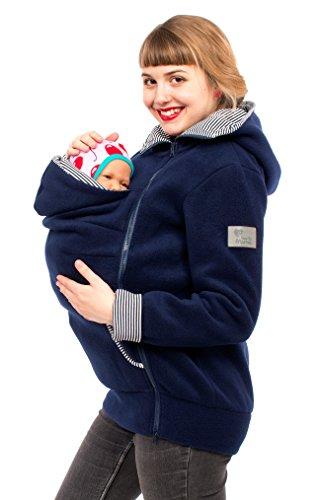Viva la Mama Damen Tragejacke Fleece Winterjacke Mama Baby Fleecepullover für Tragetuch Umstandsjacke - AHOI Marine blau Streifen - XXL